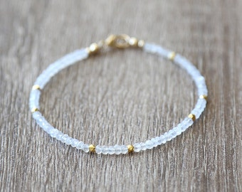 Rainbow Moonstone and Gold Nugget Bracelet / Stackable Gemstone Bracelet