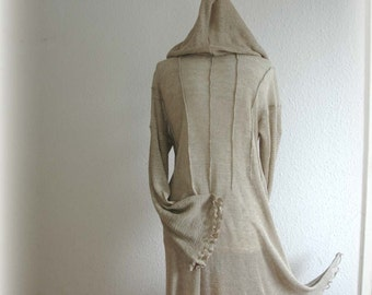 Grey Tunic / Knitted LINEN/ Hooded Tunic /Unique / Eco Friendly/Natural Clothing