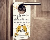 Bachelorette Party Door Hangers with Gold Champagne Design - Set of 10 Custom Door Tags for Hotel Guests