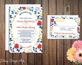 Wedding Invitation - Belle Princess Silhouette with Roses Background - Beauty and the Beast - Invitation and RSVP Card with Envelopes