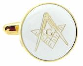 Freemasonry  Gold & White Cufflinks n01577