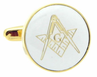Freemasonry  Gold & White Cufflinks n01577