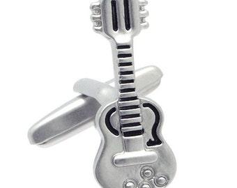 Matt Silver Guitars Cufflinks n01610