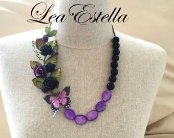 Purple Garden Necklace, purple flower necklace, Butterfly necklace, Woodland necklace, Gothic Necklace, Statement Necklace- Maleficent