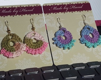 Dainty crocheted fan earrings with picot trim