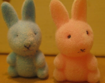 2 Vintage Flocked Miniature Plastic Bunnies Easter Craft Supply