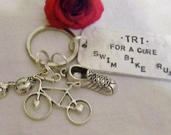 Swim, bike, run, triathlon key chain, hand stamped, swim, bike, run, with goggles, bike, sneaker charms, gift for triathlete, keepsake,