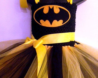 Batman Inspired Tutu Dress - Child Sizes - Yellow and Black Skirt with Batman mask for girls