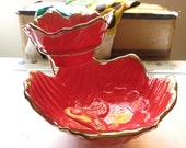 Mid century modern candy dish, red and gold floral design