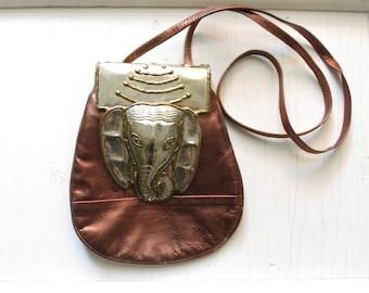 Leather mini purse with handmade metalwork elephant, metallic bronze and silver