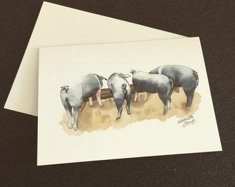 Notecard - Piggy butts - blank inside