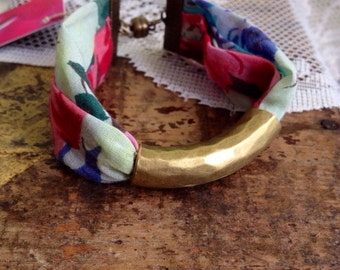 Turquoise Vintage Floral Fabric and Chunky Bronze Tube Bracelet