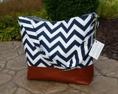 Navy Chevron Messenger Bag made with brown leather, Diaper bag in black zig zag and leather, Purse, Everything Bag, Zig Zag,