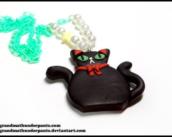Black Cat Tea Time Necklace