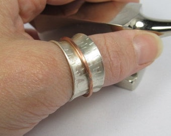 Sterling Silver Spinner Ring with Tree Bark Texture
