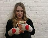 Fingerless Gloves - Texting Gloves - Wrist Warmers - Heart Gloves - Linen & Red Heart