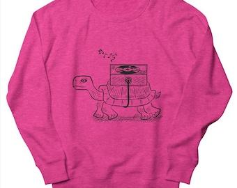 TORTOISE WAX - Mens / Womens Sweatshirt - Heather Oatmeal / Pink / Green - Vinyl / Record Player - by Oliver Lake - iOTA iLLUSTRATiON