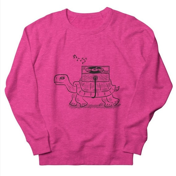 TORTOISE WAX - Mens / Womens Sweatshirt - Heather Oatmeal / Pink / Green by Oliver Lake - iOTA iLLUSTRATiON