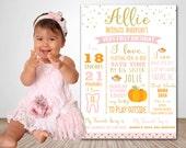 PUMPKIN First Birthday Milestone Poster Gold Glitter Pink Pumpkin Chalkboard Style Poster Pumpkin First Birthday Memory Board