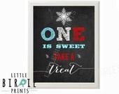 WINTER ONEDERLAND Chalkboard Birthday Party Sign First Birthday ONE is sweet take a treat - Winter Onederland Boy Decorations