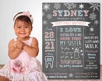 FIRST BIRTHDAY CHALKBOARD Winter Onederland Milestone Poster - Snowflake First Birthday Chalkboard - Winter Onederland Firsts Chalkboard