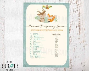 WOODLAND Baby Shower GAME Animal Pregnancy Gestation Game // Woodland Baby Shower Fox Deer Racoon  // Instant Download // Fox Baby shower