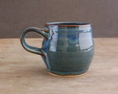 8 oz Pottery Mug, Handmade Modern Stoneware Coffee Cup in Moody Blue
