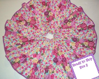 Girls Skirt Purple Pink Roses Floral Birthday Cake Party School Pageant Patchwork Twirl Ready to Ship Size 8