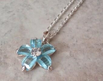 Blue Flower Necklace Rhinestones Checkerboard Cut Silver Tone Vintage V0782