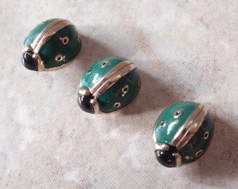 Green Beetle Lace Pins Gold Tone Enamel Coilback Pigtail Qty. 1