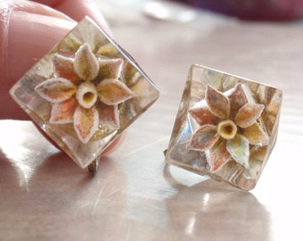 Reverse Carved Earrings Screw Back Floral Painted Clear Lucite Vintage CYNH