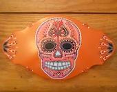 Large Burnt Orange Sugar Skull Necklace Rack and Wall Decor
