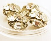 Vintage Rhinestone Shamrock Cluster Button Set, 17mm, 4pc