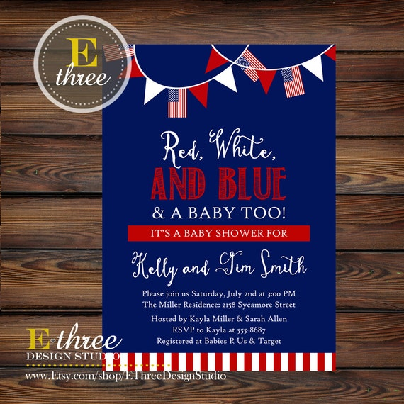 4th Of July Baby Shower Invitation Red White And Blue Baby