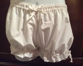 ALL SIZES  Womens White Cotton Bloomers, Costume, Pajamas in White bows and White Eyelet