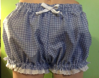 ALL SIZES Womens Bloomers, Pajamas, Costume, Blue and White Plaid woven cotton Trimmed in white eyelet