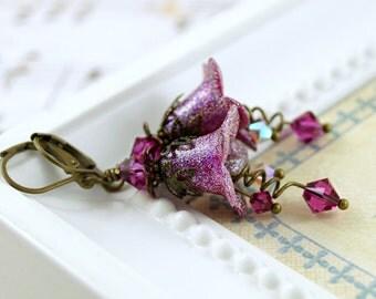 Glittering Fuchsia Lucite Flower Earrings, Fairy Earrings, Bridal Jewelry