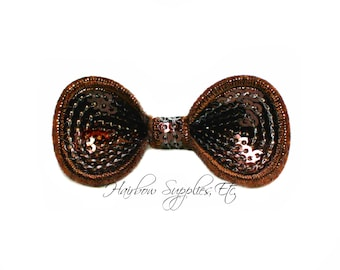 Brown Sequin Round Bow 2-1/4 inch - Brown Bow Applique, Brown Mini Sequin Bow, Brown Glitter Bow - Hairbow Supplies, Etc.