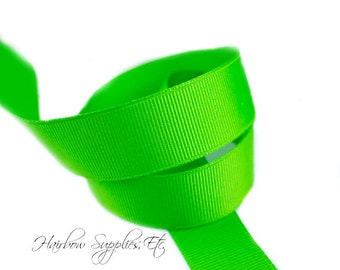 Apple Green 3/8 inch ribbon - Lime Green, Hair Bow Supplies, Lime Hair Bow, Lime Ribbon By The Yard, DIY Lime Bow, Hairbow Supplies, Etc.