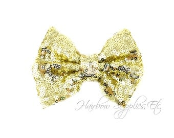Light Yellow Large Sequin Bows 4 inch Bows- Bow Applique, Sequin Bow, Large Bows, Big Bows, Wholesale Bows, Sequin Bows, Sequin Bow Headband