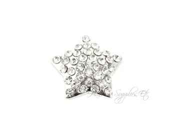 Silver Star Rhinestone Buttons - 22 mm Acrylic - July 4th, Fourth of July, Patriotic - Hairbow Supplies, Etc.