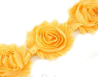 Apricot Shabby Rose Trim 2-1/2 inches - 1/2 or 1 yard - Shabby Rose Trim - Shabby Chiffon Flower Hairbow Supplies, Etc.