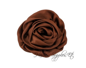 Brown Elegant Rosette Satin Flowers 3 inch Set of 2 - Brown Satin Flowers, Brown Rosettes, Brown Flowers for Hair, Brown Hair Flowers