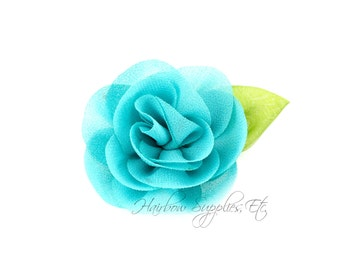 Aqua Candlelight Rose 2 inch Chiffon Flowers, Chiffon Flower Headband, Hair Flowers, Hair Flower Clip, Flower Headband, Flower Headband Baby