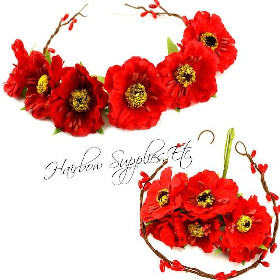 DIY Red Floral Crown Kit DIY Flower Crown By HairbowSuppliesEtc