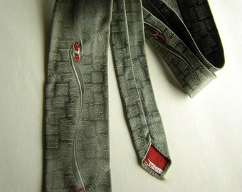 Vintage Neck Tie Gray & Red Asian from 50s or 60s - Skinny with Lusty Embroidered Scroll - Mad Men Gift Idea Gift for Him