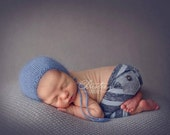 newborn boy stripe pants with pockets (Andrew) - photography prop - navy, blue, dusty blue, slate gray, stripes, denim