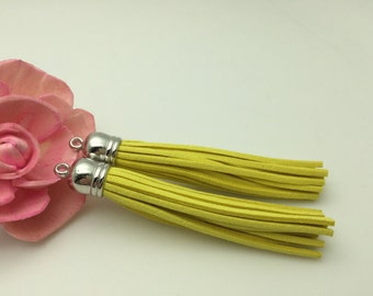 50 Pieces 86x12MM Light Yellow Color Faux Suede Leather Tassel With Plastic Silver Top Cap,Phone Accessories, Necklace Tassel Pendant
