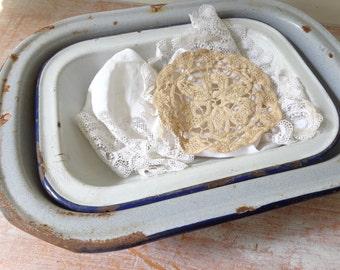 Rustic Pair of Enamel Dishes/Baking Pans
