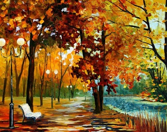 Original painting Canvas painting Oil Painting Landscape Impasto painting Palette Knife Textured Colorful painting red wall 3d ART Marchella